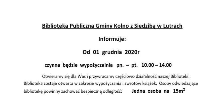 Informacja Biblioteki Publicznej Gminy Kolno z Siedzibą w Lutrach