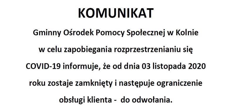 Informacja Gminnego Ośrodka Pomocy Społecznej w Kolnie