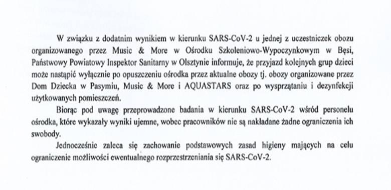 Informacja Państwowego Powiatowego Inspektora Sanitarnego w Olsztynie