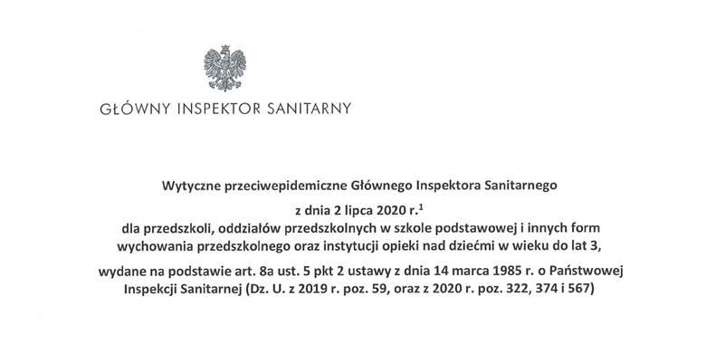 Wytyczne przeciwepidemiczne Głównego Inspektora Sanitarnego z dnia 2 lipca 2020 r.