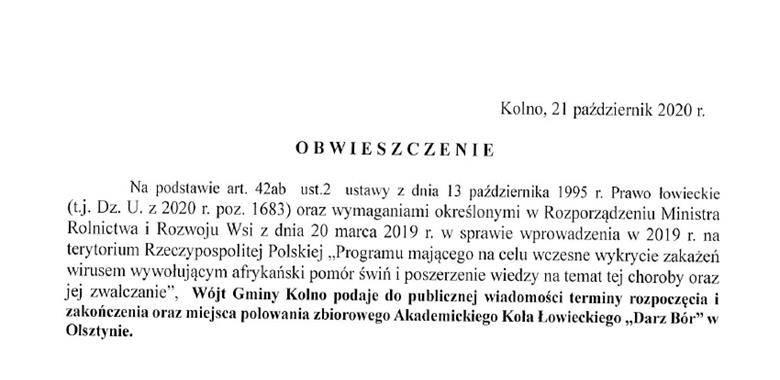 """Obwieszczenie - Wójt Gminy Kolno podaje do publicznej wiadomości terminy rozpoczęcia i zakończenia oraz miejsca polowania zbiorowego Akademickiego Koła Łowieckiego """"Darz Bór"""" w Olsztynie"""