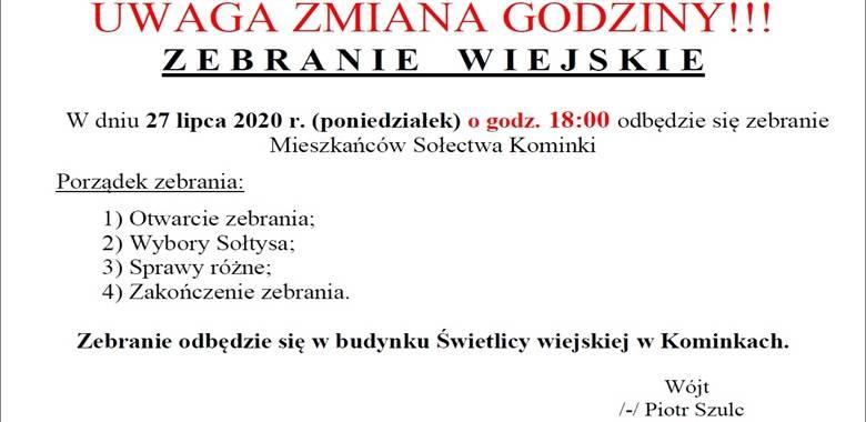 Zebranie Wiejskie Mieszkańców Sołectwa Kominki - UWAGA ZMIANA GODZINY!!!