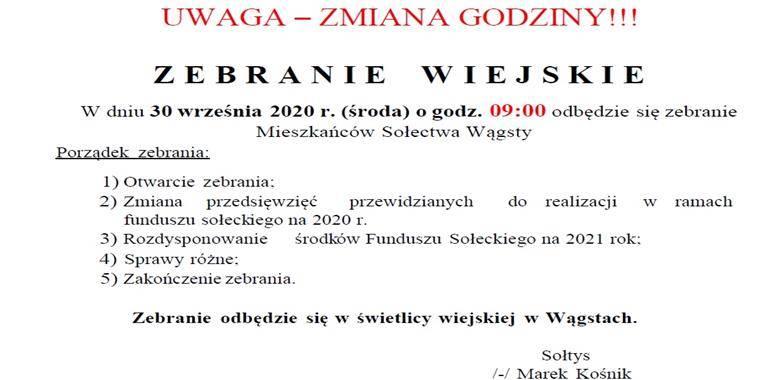 Zebranie Wiejskie Mieszkańców Sołectwa Wągsty - ZMIANA GODZINY!