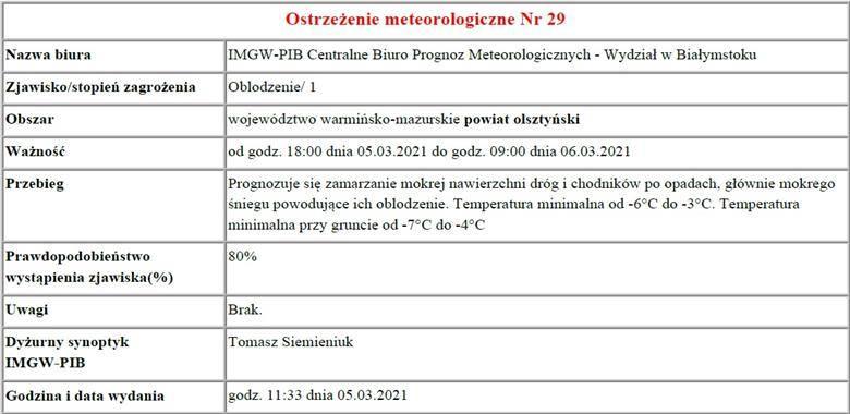 Ostrzeżenie meteorologiczne Nr 29