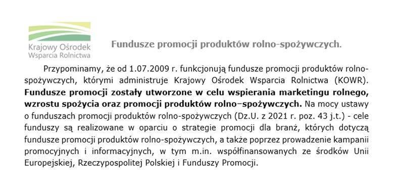 Fundusze promocji produktów rolno-spożywczych