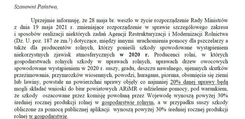 Uruchomienie pomocy dla pszczelarzy i producentów rolnych NZA - 2020 r.