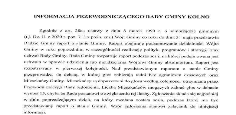 Informacja Przewodniczacego Rady Gminy Kolno wraz ze zgłoszeniem do debaty