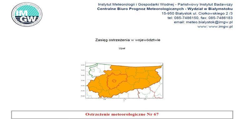Ostrzeżenie meteorologiczne Nr 67