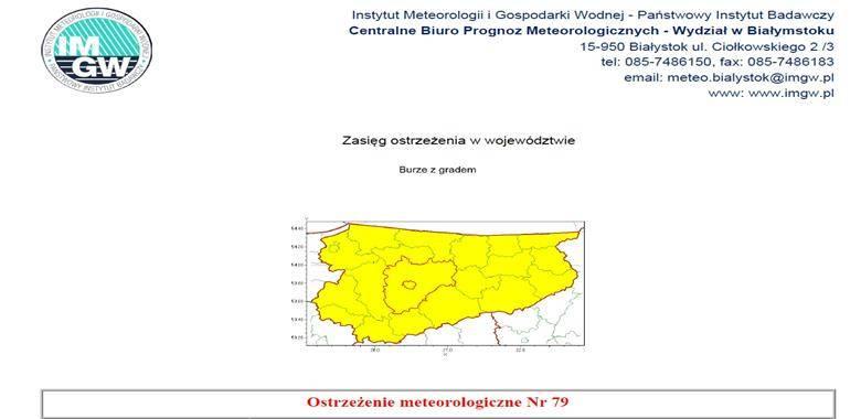 Ostrzeżenie meteorologiczne Nr 79