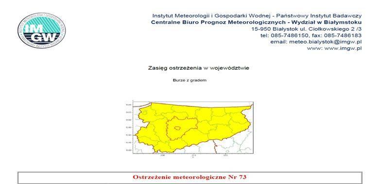 Ostrzeżenie meteorologiczne nr 73