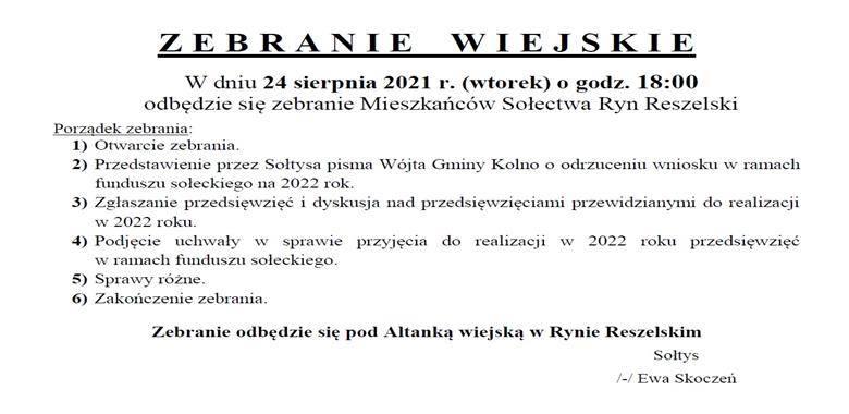 Ogłoszenie - Zebranie Wiejskie Mieszkańców Sołectwa Ryn Reszelski