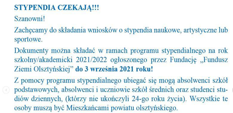 STYPENDIA CZEKAJĄ!!!