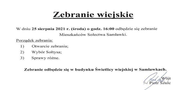 Zebranie Wiejskie Mieszkańców Sołectwa Samławki