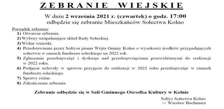 OGŁOSZENIE - Zebranie Wiejskie Mieszkańców Sołectwa Kolno w sprawie rozdysponowania środków funduszu sołeckiego na 2022 rok