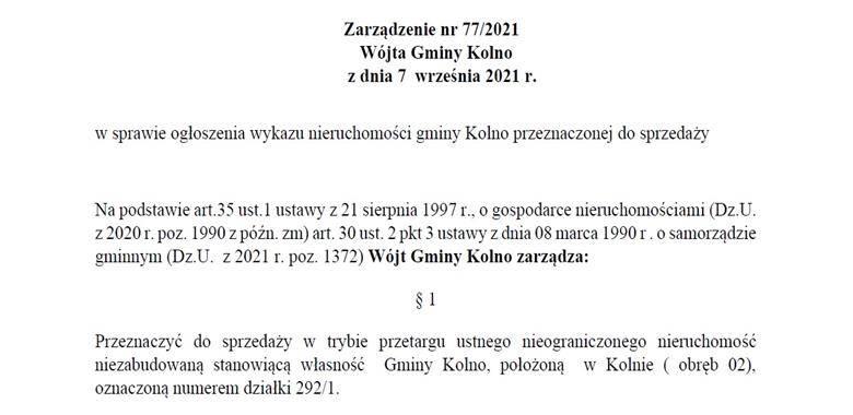 Zarządzenie nr 77/2021 Wójta Gminy Kolno z dnia 7 września 2021 r. w sprawie ogłoszenia wykazu nieruchomości gminy Kolno przeznaczonej do sprzedaży