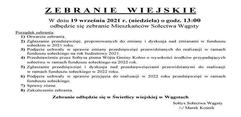 OGŁOSZENIE - Zebranie Wiejskie Mieszkańców Sołectwa Wągsty w sprawie funduszu sołeckiego: rozdysponowanie środków na 2022 r. i zmiana przedsięwzięć w 2021 r.