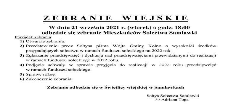 OGŁOSZENIE - Zebranie Wiejskie Mieszkańców Sołectwa Samławki w sprawie rozdysponowania środków funduszu sołeckiego na 2022 r.