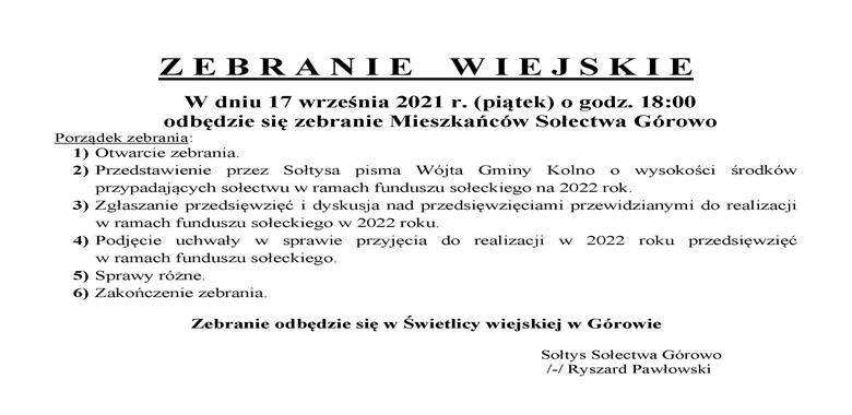 OGŁOSZENIE - Zebranie Wiejskie Mieszkańców Sołectwa Górowo w sprawie rozdysponowania środków funduszu sołeckiego na 2022 r.