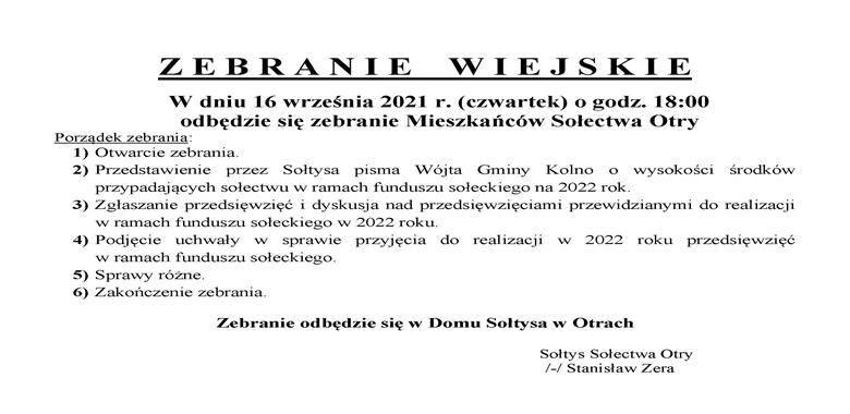 OGŁOSZENIE - Zebranie Wiejskie Mieszkańców Sołectwa Otry w sprawie rozdysponowania środków funduszu sołeckiego na 2022 r.