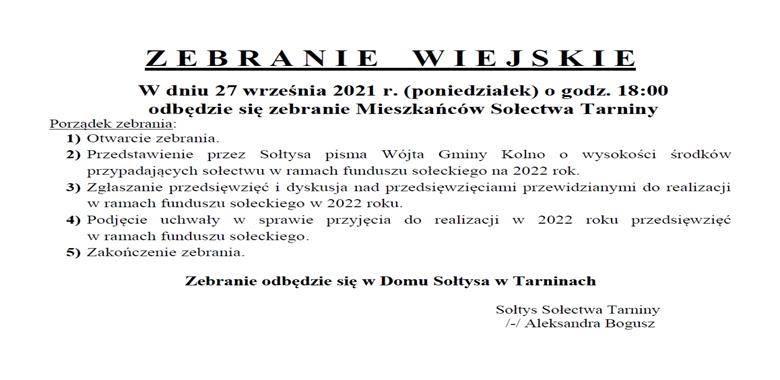 OGŁOSZENIE - Zebranie Wiejskie Mieszkańców Sołectwa Tarniny w sprawie rozdysponowania środków funduszu sołeckiego na 2022 r.