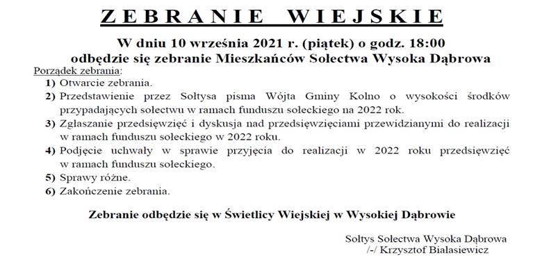 OGŁOSZENIE - Zebranie Wiejskie Mieszkańców Sołectwa Wysoka Dąbrowa w sprawie rozdysponowania środków funduszu sołeckiego na 2022 r.