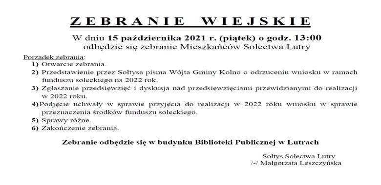 OGŁOSZENIE - Zebranie Wiejskie Mieszkańców Sołectwa Lutry w sprawie rozdysponowania środków funduszu sołeckiego na 2022 r.