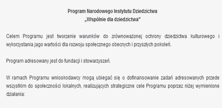 """Program Narodowego Instytutu Dziedzictwa """"Wspólnie dla dziedzictwa"""""""